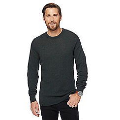 The Collection - Big and tall dark green lambswool-blend crew neck jumper