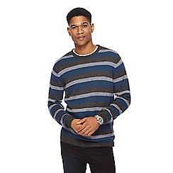 The Collection - Big and tall turquoise stripe crew neck jumper
