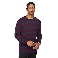 The Collection - Big and tall dark purple striped lambswool blend jumper