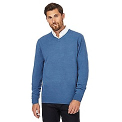 The Collection - Big and tall blue textured V-neck jumper