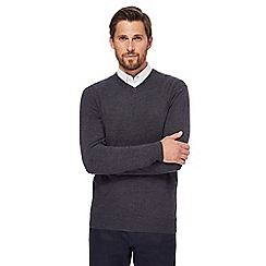 The Collection - Big and tall dark grey v-neck jumper