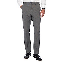 The Collection - Big and tall light grey pin dot flat front trousers