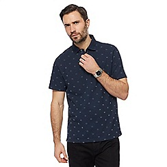 The Collection - Navy textured patterned polo shirt