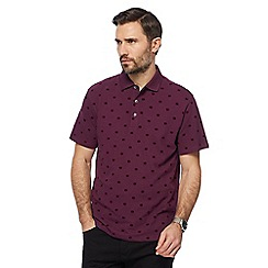 The Collection - Big and tall plum textured patterned polo shirt