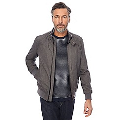 The Collection - Big and tall grey textured flight bomber jacket