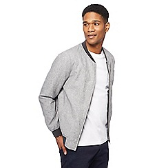 The Collection - Big and tall grey sharkskin textured bomber jacket