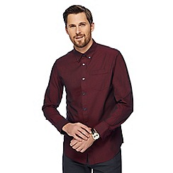 The Collection - Dark red textured tailored fit shirt