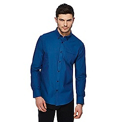 The Collection - Big and tall blue textured tailored fit shirt