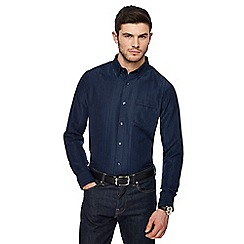 The Collection - Big and tall navy textured stripe shirt