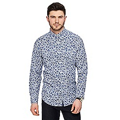 The Collection - Big and tall navy leaf print shirt