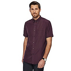 The Collection - Big and tall dark purple textured stripe shirt