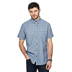 The Collection - Blue zig zag print short sleeve shirt