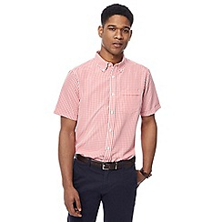 The Collection - Big and tall mid rose short sleeve gingham shirt
