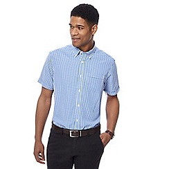 The Collection - Big and tall blue short sleeve gingham shirt