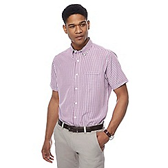 The Collection - Big and tall purple short sleeve gingham shirt