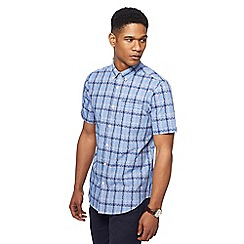 The Collection - Big and tall blue jigsaw checked tailored fit shirt