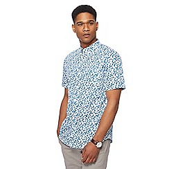 The Collection - Turquoise flower press print tailored fit shirt