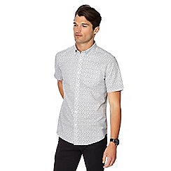 The Collection - Big and tall white circle print button down collar short sleeve tailored fit shirt