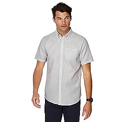 The Collection - Big and tall white textured striped button down collar short sleeve tailored fit shirt