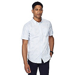 The Collection - Blue circle spot print button down collar short sleeve tailored fit shirt