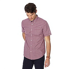 The Collection - Wine red checked button down collar short sleeve tailored fit shirt