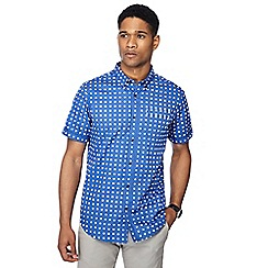 The Collection - Blue spotted print button down collar short sleeve tailored fit shirt
