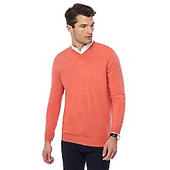The Collection - Big and tall peach v-neck marl jumper