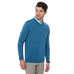 The Collection - Turquoise V-neck marl jumper