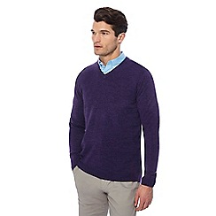 The Collection - Dark purple V-neck marl jumper