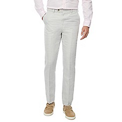 The Collection - Big and tall light grey linen blend tailored fit flat front trousers