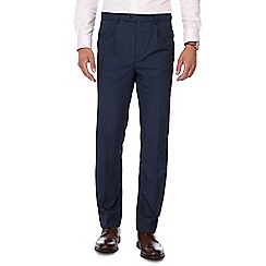 The Collection - Blue puppytooth tailored fit pleated trousers