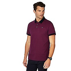 The Collection - Big and tall plum fine stripe print polo shirt