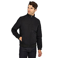The Collection - Big and tall black shower resistant harrington jacket