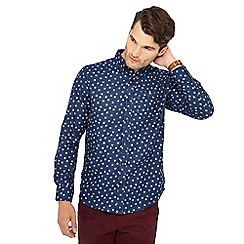 The Collection - Navy spot print long sleeve tailored fit shirt