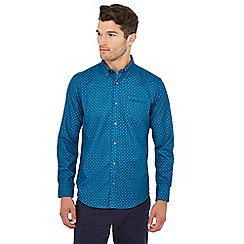 The Collection - Big and tall turquoise geometric print long sleeve tailored fit shirts