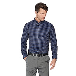 The Collection - Big and tall blue gingham checked long sleeve tailored fit shirt