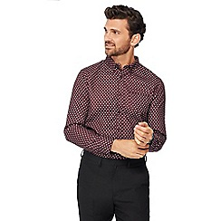 The Collection - Wine dot print long sleeve tailored fit shirt