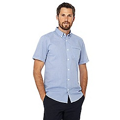 The Collection - Big and tall blue mini checked button down collar short sleeve tailored fit shirt