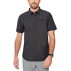 The Collection - Big and tall black dobby short sleeve tailored fit shirt