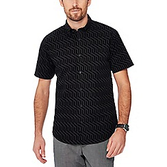 The Collection - Big and tall black geometric flocked short sleeve tailored fit shirt