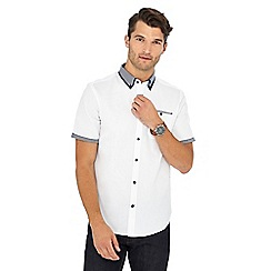 The Collection - Big and tall white waffle texture short sleeve cotton tailored fit shirt