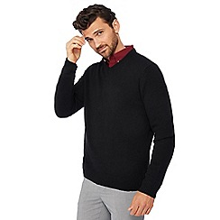 The Collection - Big and tall black lambswool blend crew neck jumper