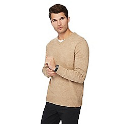 The Collection - Big and tall natural lambs wool blend v-neck jumper