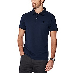 The Collection - Big and tall dark blue fine stripe print polo shirt