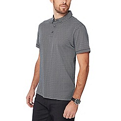 The Collection - Black herringbone print cotton polo shirt