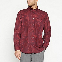 The Collection - Dark Red Tapestry Floral Long Sleeve Classic Fit Shirt