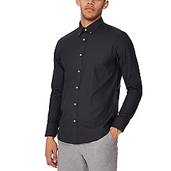 The Collection - Black jacquard spot long sleeves tailored fit shirt