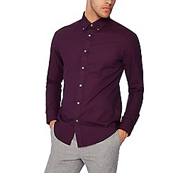 The Collection - Purple jacquard spot long sleeves tailored fit shirt