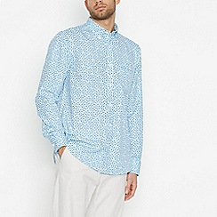 The Collection - Big and tall light blue floral long sleeve classic fit shirt