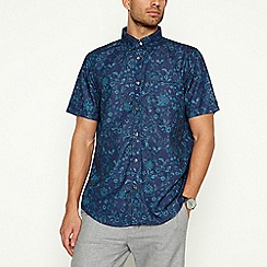The Collection - Turquoise Floral Short Sleeve Classic Fit Shirt